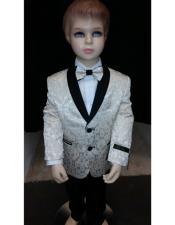 Kids Children Boys Tuxedo Paisley Two toned Cream Blazer
