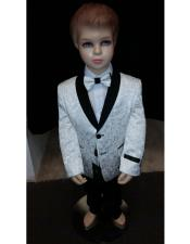 Kids Children Boys Tuxedo Paisley Two toned White Blazer