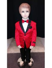 Children Boys Tuxedo Red Paisley Two toned Blazer Looking