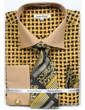 Daniel Ellissa Bright Net Pattern Two Tone French Cuff Black/Mustard Dress Shirt Big and Tall Sizes Two