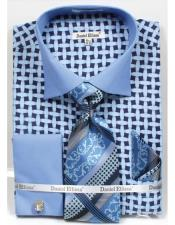 Daniel Ellissa Blue Bright Net Pattern Two Tone French Cuff Dress Shirt Big and Tall Sizes Two