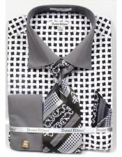 Daniel Ellissa Bright Black/White Net Pattern Two Tone French Cuff Dress Shirt Big and Tall Sizes Black