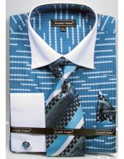 Unique Broken Stripe Pattern Two Tone French Cuff Steel Blue Dress Shirt White Collar Big and Tall