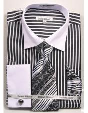 Daniel Ellissa Stripe Pattern Two Tone French Cuff Black Dress Shirt