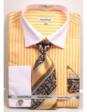 Ellissa Stripe Pattern Two Tone French Cuff Mustard White Collar Big