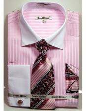 Ellissa Pink Stripe Pattern Two Tone French Cuff Dress White Collar