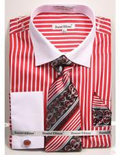 Daniel Ellissa Stripe Pattern Two Tone French Cuff Red Dress Shirt White Collar Big and Tall Sizes