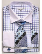 Daniel Ellissa Checked Pattern Two Tone French Cuff Blue Dress Shirt White Collar Big and Tall Sizes