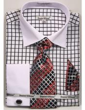 Daniel Ellissa Black Checked Pattern Two Tone French Cuff Dress Shirt White Collar Big and Tall Sizes