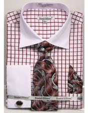 Daniel Ellissa Checked Pattern Two Tone French Cuff Burgundy ~ Wine ~ Maroon Color Dress Shirt White