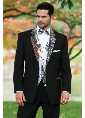 Black Camouflage ~ Camo Notch Lapel Vested Tuxedo Tux In 3