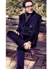 Velvet Suit Mens Double Breasted Suits Jacket Suit Available in Black & Red & Dark Navy Blue