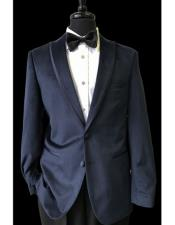 2 Buttons Black Trimmed Lapel Velvet Navy Blue Tuxedo