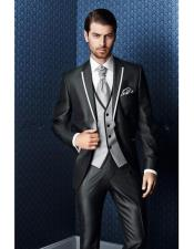 Shiny Flashy Black Tuxedo With White Trim Two Toned Lapel Suit