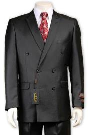 Sharkskin Sheen Fabric Black Double Breasted suit Pleated Pants Side Vented