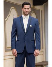 High Fashion Two Buttons Satin Notch Lapel Wool Modern Slim Fit Slate Blue Suits