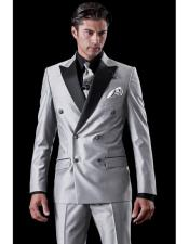 Mens Shiny Sharkskin Flashy Light Grey Double Breasted Tuxedo Two Toned