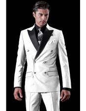 Double Breasted Tuxedo Two Toned White Wool Suit