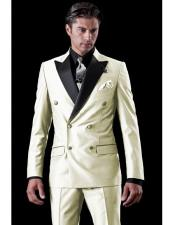 Mens Ivory Double Breasted Tuxedo Two Toned Wool Suit