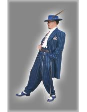 2020 New Formal Style Royal Blue Pinstripe ~ Stripe Fashion Long Zoot Dress Zoot Suit - Pimp