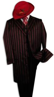 SHIMMERY GANGSTER Black And Bold Pronounce Red Stripe ~ Pinstripe Fashion Longe