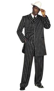 Mens Black High Fashion Single Breasted Bold Pronounce White Pinstripe Three Piece Zoot Suit Advanced Pre Order