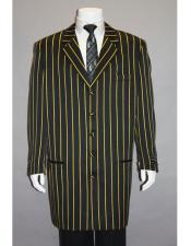 Mens Black High Fashion Single Breasted Bold Pronounce Yellow Pinstripe Three