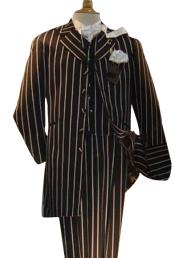 Mens Black High Fashion Single Breasted Bold Pronounce White Pinstripe Three