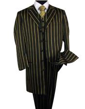 Mens Black Single Breasted Bold Pronounce Yellow Pinstripe ~ Gold ~ Mustard Stripe Three