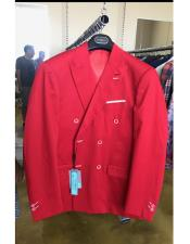 Cotton Fabric Double breasted suit Red