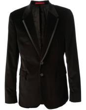 Nardoni Brand Mens Black Velvet  & Black Trim Lapel Tuxedo