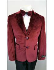 Boys 2 Buttons Notch Lapel Velvet Burgundy ~ Wine ~ Maroon