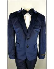 Boys Navy 2 Buttons Notch Lapel Velvet Suit
