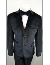 Kids Boys 2 Buttons Notch Lapel Velvet Suit