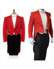 SKU#GD39 Double Breasted Red Long Blazer Black Pants 3 Piece Groom Tuxedos Wedding Prom Suits For Men
