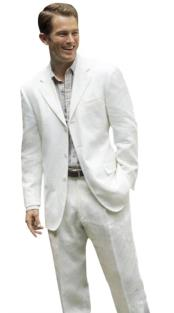 Nardoni Brand Snow White Linen Fabric 3 Button Style Notch Lapel Suit Also available in Black Color