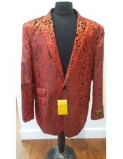 Alberto Nardoni Brand Floral Sportcoat ~ Paisley Jacket ~ Shiny ~ Red Fashion Blazer For Men Dinner