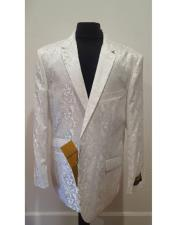 white Alberto Nardoni Brand Mens Floral Sportcoat ~ Fashion Blazer Dinner Jacket Tuxedo Looking (Wholesale Price $80