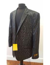 Nardoni Brand Floral Sportcoat ~ Paisley Jacket ~ Shiny ~ Fashion Blazer For Men Black Dinner Jacket