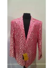 Nardoni Brand Floral Fuchsia Sportcoat ~ Paisley Jacket ~ Shiny ~ Fashion Blazer For Men Dinner Jacket