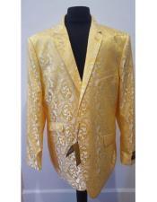Yellow Paisley Pattern Alberto Nardoni Brand Shiny Floral Sportcoat Tuxedo Looking (Wholesale Price $80 (12pc&UPMinimum)) Mens Dinner