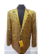 Nardoni Brand Floral Sportcoat ~ Paisley Jacket ~ Shiny ~ Fashion Blazer For Men Gold Dinner