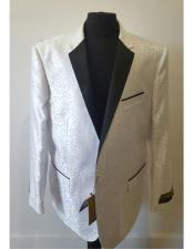 Men White Front Flap Pockets Dinner Jacket Tuxedo