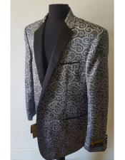 Mens Charcoal Floral Pattern Dinner Jacket Tuxedo
