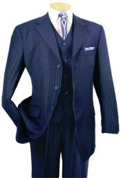 Nardoni Vested Pinstripe 100% Wool Suit Pleated Pants Three ~ 3