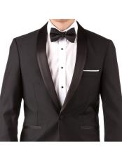 Slim Fit Tuxedo - Mens Slim Fit Suit Mens Black 100% Wool