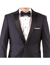 Mens Midnight Blue Two Button Hidden Flex-Fit Suit Slim Fit Tuxedo Suit