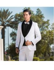 Breasted Two Toned Tuxedo White & Black Velvet Lapel Shawl Lapel Suit