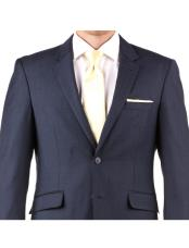 Navy Blue 100% Wool Two Button Wedding Suit