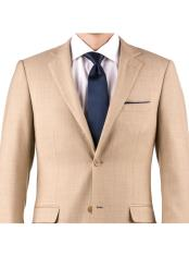 Tan Tuxedo - Khaki Tuxedo Mens Tan Sharkskin 100% Wool Wedding Suit